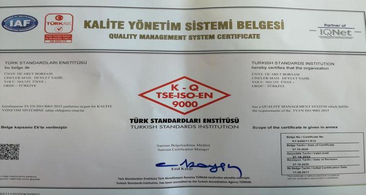 TSE-ISI-EN 9000 VE TS EN ISO 9001:2015 belgelerimizi aldık.