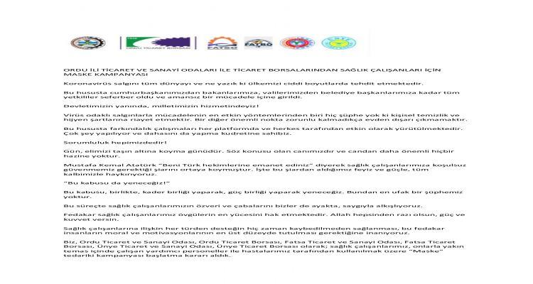 Oda/Borsalarımı zdan sağlık çalışanlarımıza destek kampanyası
